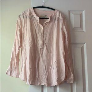 LOFT light pink popover blouse, size M